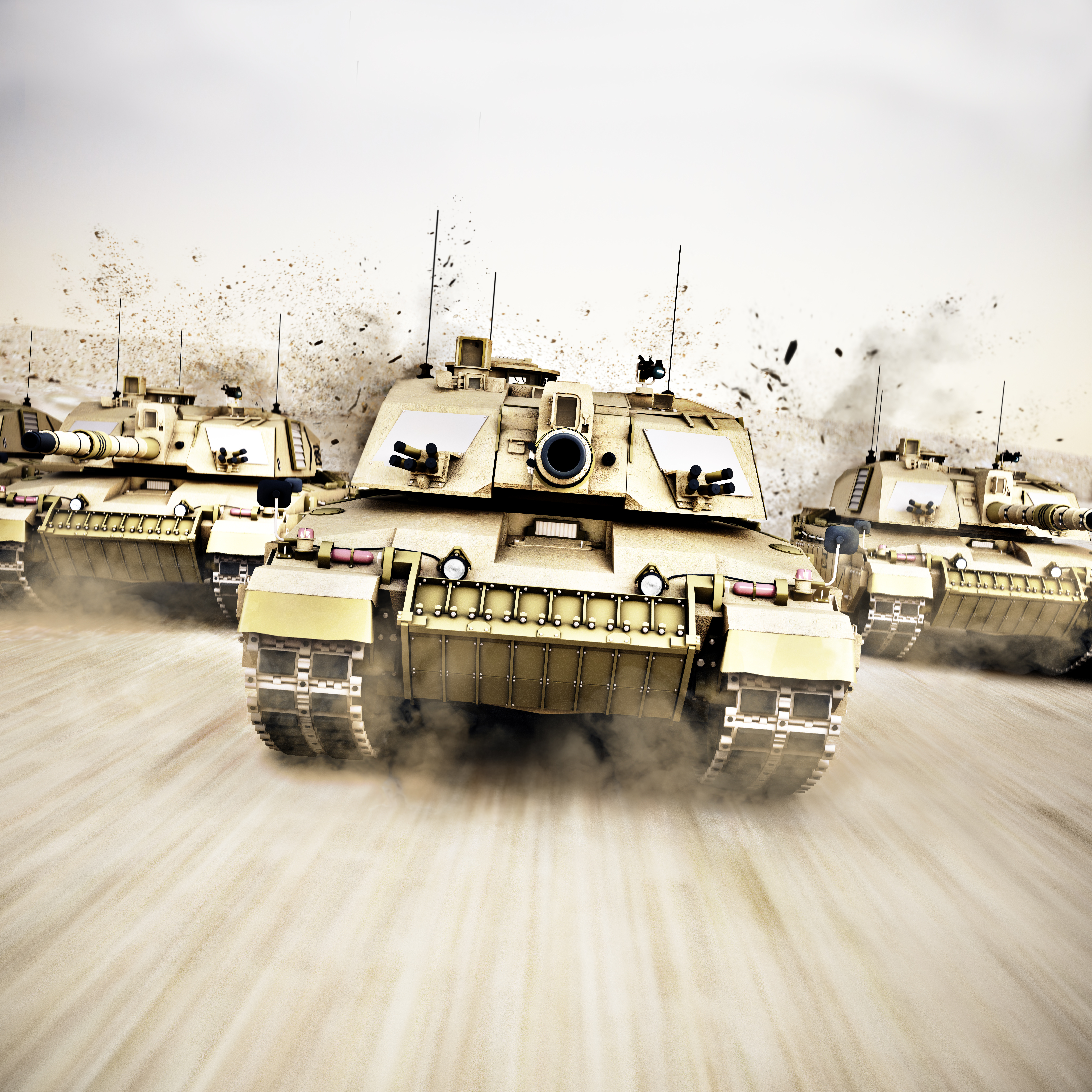 Military armored tank convoy moving at a high rate of speed with motion blur over sand. Generic photo realistic 3d rendering