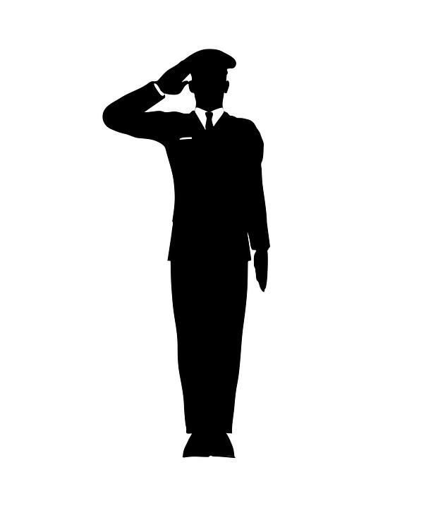 salute-black and white cartoon