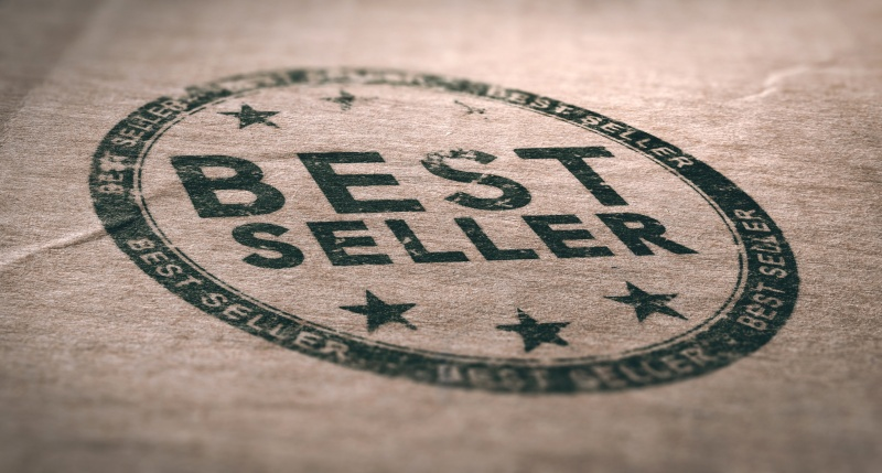 Old Best Seller Label Over Brown Paper Background