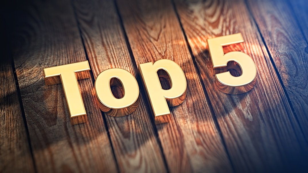 Word Top 5 on wood planks